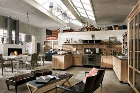 modern industrial style open plan kitchen dining and living area