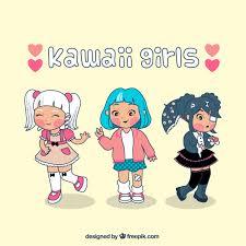imagenes kawai de chicas kawaii girls vector free download