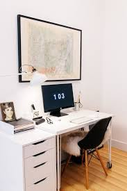 chic white minimalist home offices providing free clutter space to