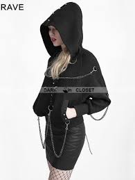 black heavy metal chain bat sweater for