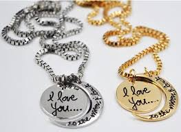 love chain necklace images I love you to the moon and back necklace round two pieces pendant jpg