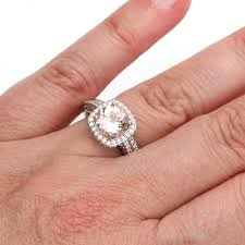 morganite wedding set morganite wedding set with diamond halo bridal jewelry