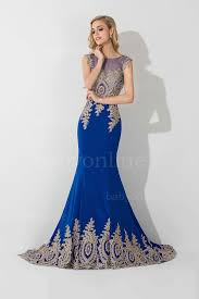 lace applique royal blue mermaid evening gowns with gold lace