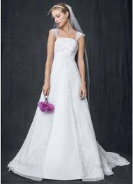 wedding dress overlay a line with chiffon split front overlay david s bridal
