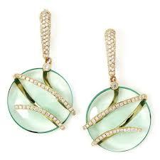 drop diamond earrings green quartz dangle drop diamond earrings once upon a diamond