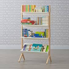 danish modern white u0026 natural tall bookcase the land of nod