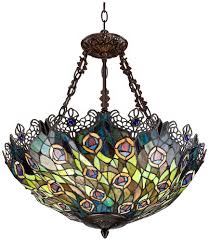 Stained Glass Pendant Light Peacock Feather 3 Light Glass Pendant Chandeliers