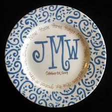 monogrammed platter handpainted platter monogrammed plate wedding gift