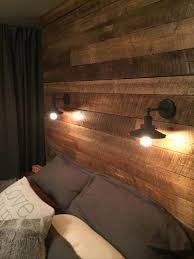 astounding bedroom on pallet wood headboard with lights 104 ic
