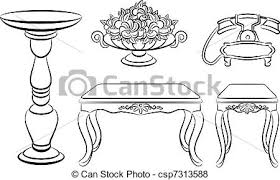 Vase Of Flowers Drawing Vector Of Table Telephone Vase With Flowers For Vintage Interior