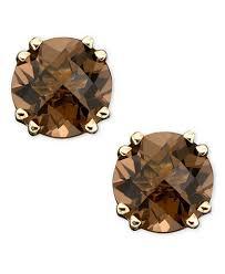 smoky quartz earrings 14k gold earrings smoky quartz stud 3 ct t w earrings
