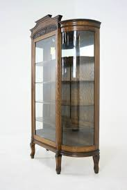 Antique Corner Curio Cabinet Antique American Tiger Oak Bow Front China Display Curio Cabinet