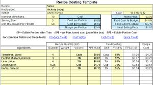 Excel Costing Template Plate Cost How To Calculate Recipe Cost