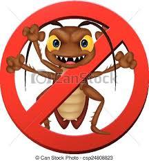 vector illustration stop cockroach cartoon vector