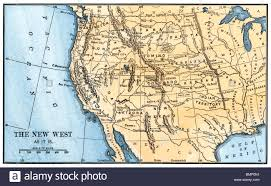 Map Of The Western United States by Map Of The Western Frontier In The United States 1800s Stock