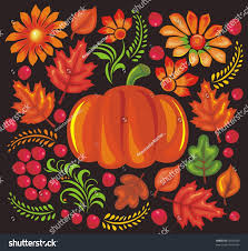 ukrainian style drawing pumpkin flowers stock vector 62035096