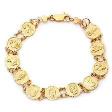 saints bracelet gold plated bronze saints medal bracelet 7 inch free shipping