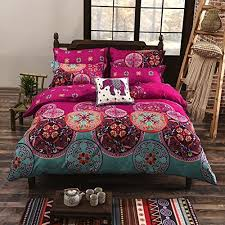 bohemian comforter set amazoncom with memorecool  new boho style bedding setmodern floral printed  pieces boho  bedding setelegant exotic quilt covers set from amazoncom
