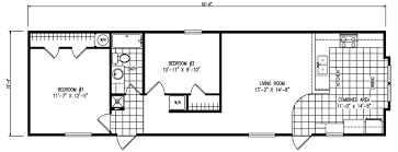 house plans with kitchen in front the tuscany 2 bed 1 bath 797 sq ft 16x52 front kitchen floor plan