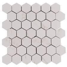 carrara matte hexagon porcelain mosaic 12in x 12in 100129238