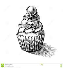 vector black and white sketch illustration of cute creamy sweet