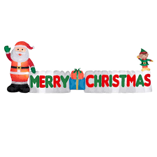 santa holding merry christmas banner inflatable