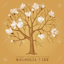 vintage tree of a blossoming magnolia royalty free cliparts