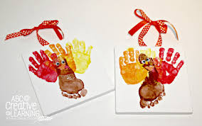 handprint and footprint turkey kids craft canvas