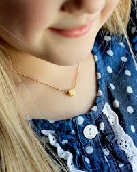 childrens gold necklace children s heart necklace flower girl necklace gold