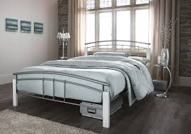 serene tetras silver and white metal frame bed beds direct