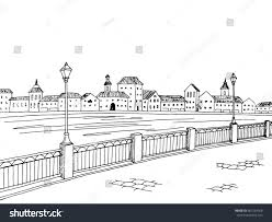 city river black white sketch landscape stock vector 467254058