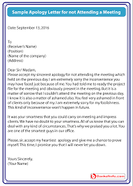sample apology letter for not attending a meeting