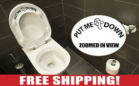 Toilet Seat Down Meme - put me down bathroom toilet seat decal with hand vinyl lettering