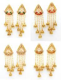 jhumki style earrings shourya exports 18k ad bahubali style jhumki earrings set at rs