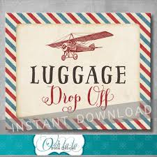 luggage drop off sign 8x10 inches vintage airplane baby shower