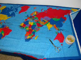 Map Quilt Fabric Cloth Of A World Map Make A Wall Hanging Table Cloth
