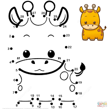 cute baby giraffe dot to dot free printable coloring pages