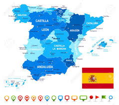 Spain Map Spain Map Flag And Navigation Icons Illustration Image