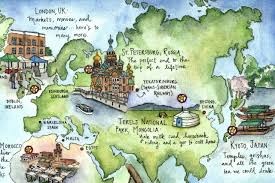 Personal World Map by Candace Rose Rardon Hand Drawn And Illustrated Map