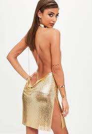 backless dress gold backless chainmail cowl shift dress missguided