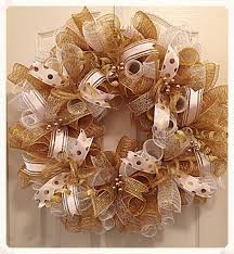 white deco mesh gold and white deco mesh wreath white and gold