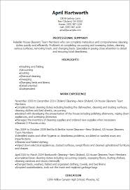 Sample Dishwasher Resume by Professional House Cleaners Team Members Resume Templates To