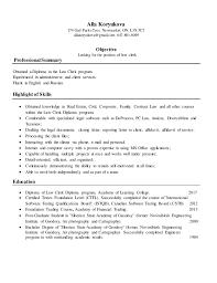 Resume For Law Clerk Alla Koryukova Law Clerk Resume