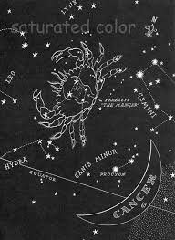 Space Debris Map Cancer Night Sky Star Chart Map Zodiac Constellation Stars From