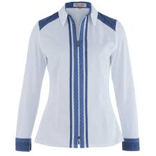 white and blue ribbon tinta diffusion angela 2757501 jersey shirt with contrast blue