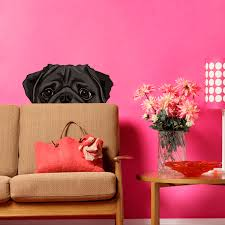 Fleur De Lis Wall Stickers Marvelous Decoration Pug Wall Art Pretentious Idea Three Pug Dogs