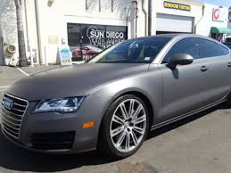 matte wrapped cars audi a7 matte dark grey sun diego wraps vehicle wrap clear