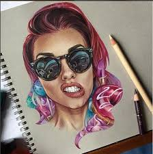 woman color pencil drawing by bokkei