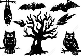 Stencil Albero by Sagome Di Halloween Con Gufo Pipistrelli E L U0027albero Clipart