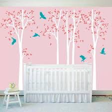 Wall Decals Baby Nursery White Tree Wall Decal Vinyl Stickers Birds Decals Baby
